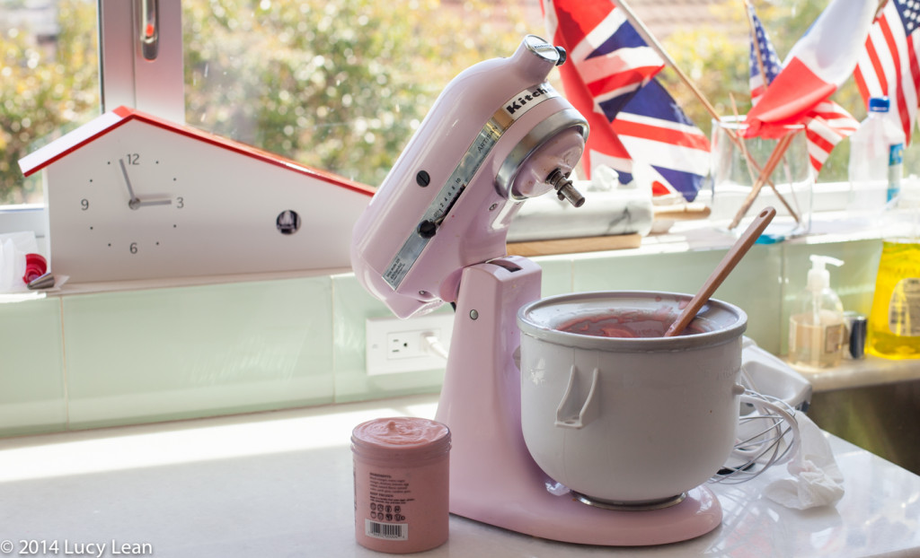 KitchenAid Mixer with Ice Cream bowl making strawberry ice cream