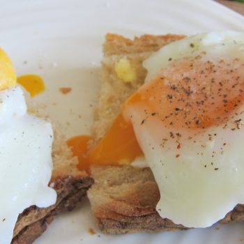poached eggs on buttered toast