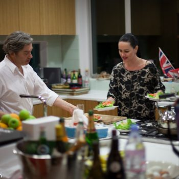 Fred Cros-Roig and Emma Fairley prepare seafood salad