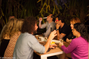 guests outside enjoying caviar