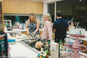 Lucy Lean, Ilse Ackerman and Piero Giramonti in kitchen