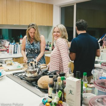 Lucy Lean, Ilse Ackerman and Piero Giramonti in kitchen