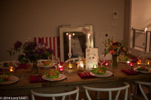 table set candles lit