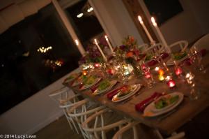 table set candles lit