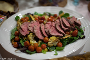 Filet Mignon and curry roasted vegetable salad
