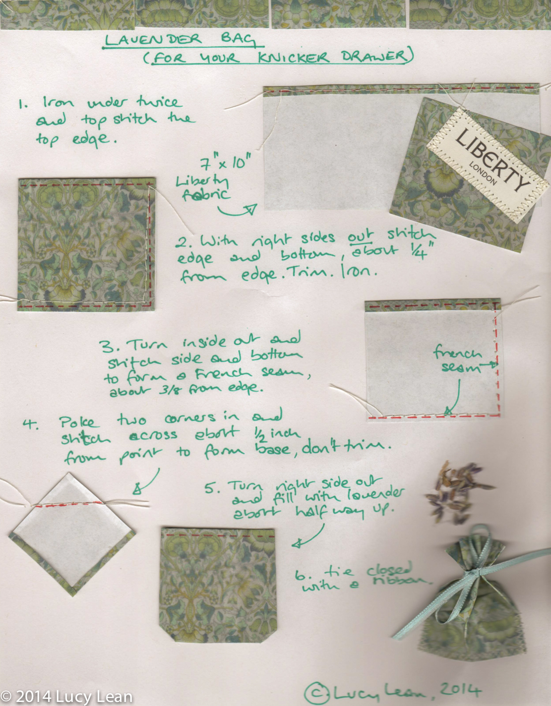How to make Lavender Bag Instructions