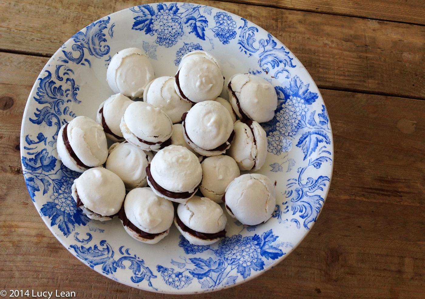 macarons on cake plate