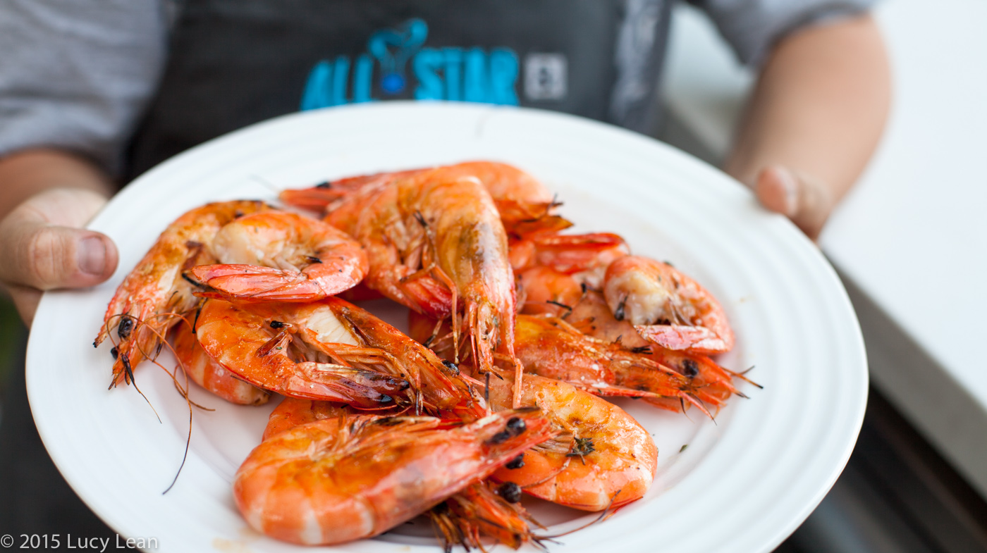 Boy on Grill – Easy Grilled Shrimp