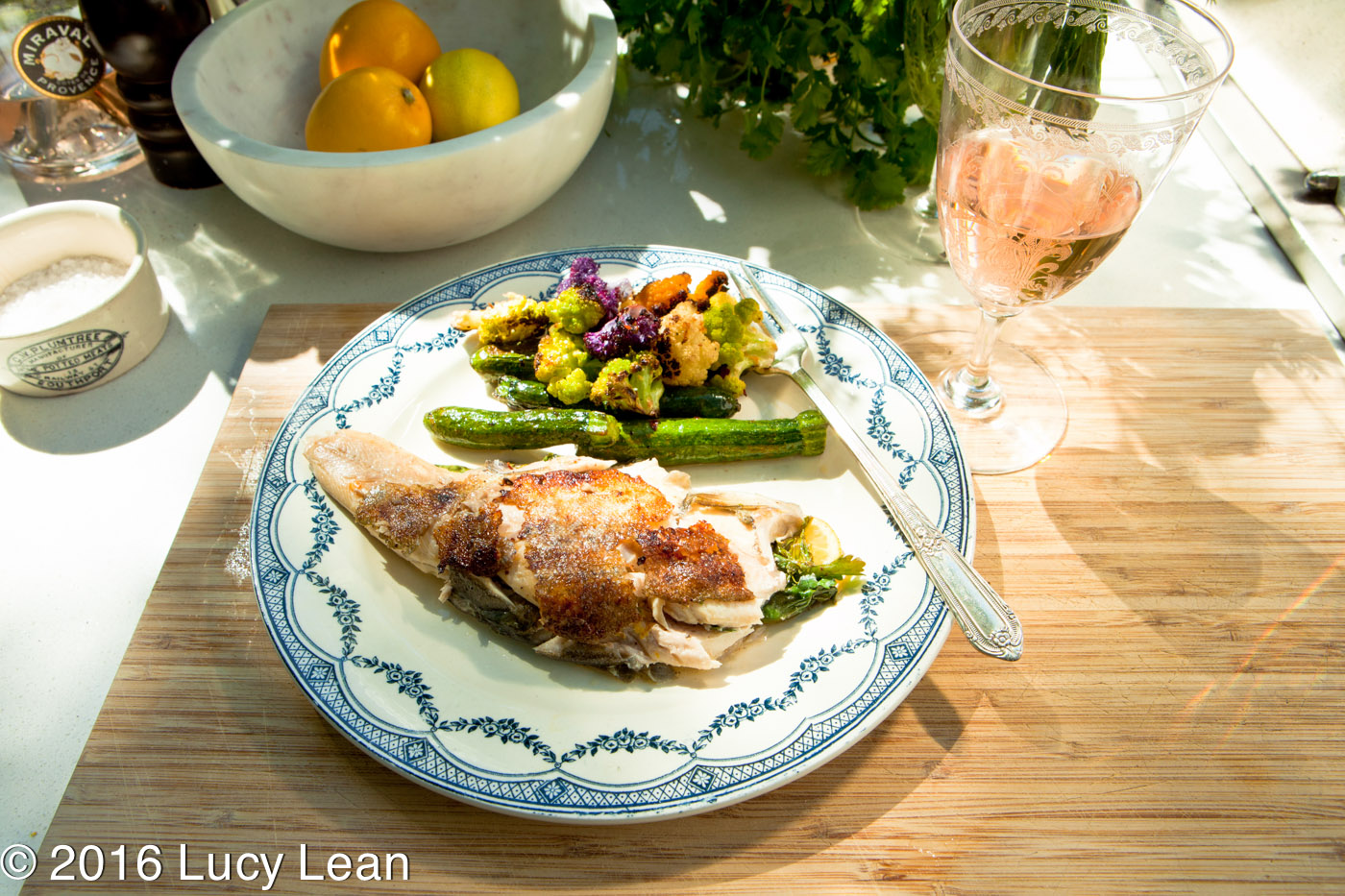 Healthy Grilled Trout with Baby Veggies and Jolie-Pitt Rosé