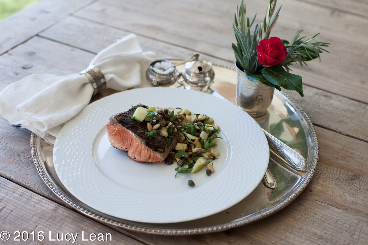 Lean Luxury Salmon Recipe with Pine Nut Salsa