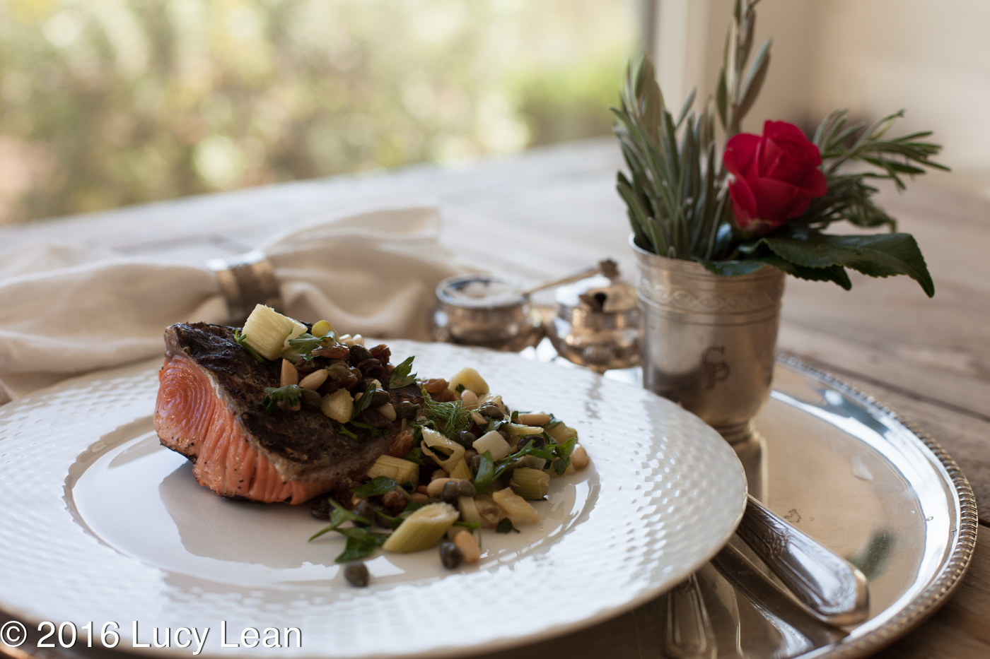Lean Luxury Grilled Salmon and Pine Nuts inspired by Ottolenghi Bridget Jones