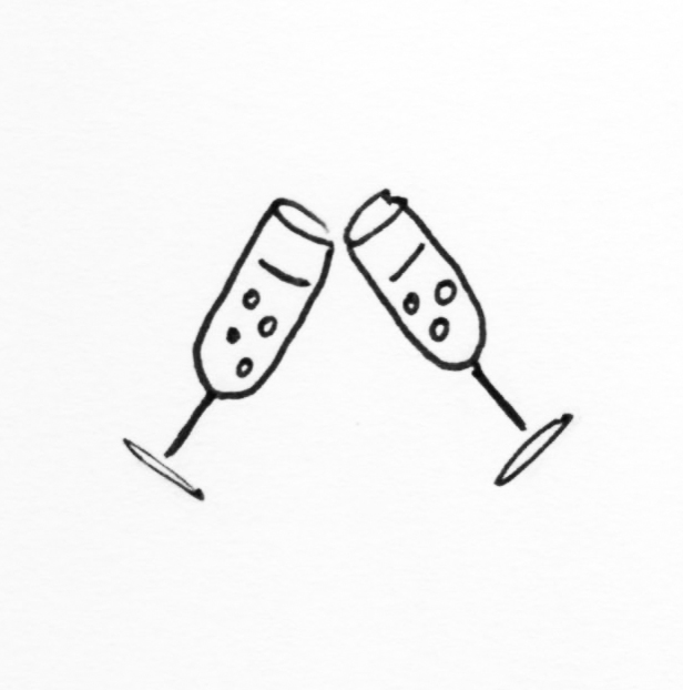 champagne glasses illustration Lucy Lean
