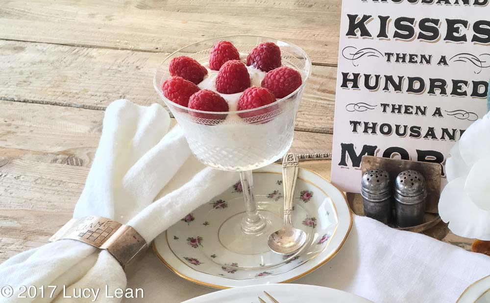 yogurt topped with raspberries Lean Luxury Breakfast Tray