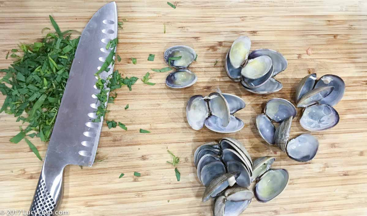 chopped tarragon and clam shells - spaghetti alle vongole