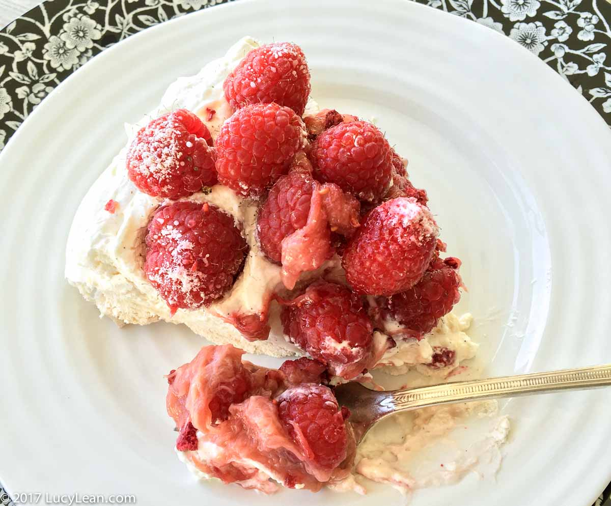 Pavlova with Rhubarb and Raspberries