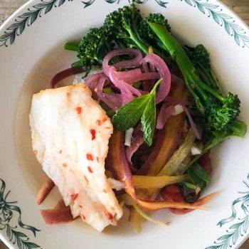 Rice Bowl – with Fish and Rainbow Veggies
