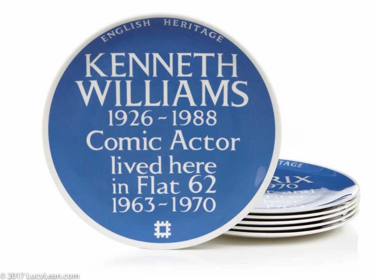 Sticky Willy Iced Bun Lucy Lean - Kenneth Williams Blue Plaque Blue Plate English Heritage