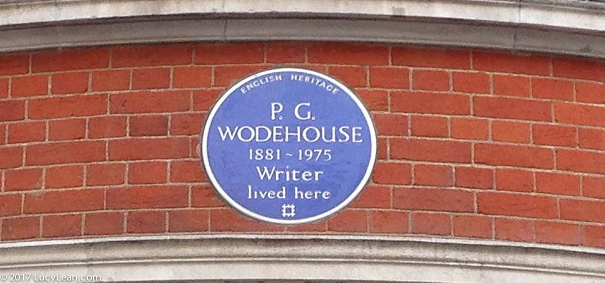 P G Wodehouse blue plaque - English Heritage Sticky Willy Iced Bun Lucy Lean