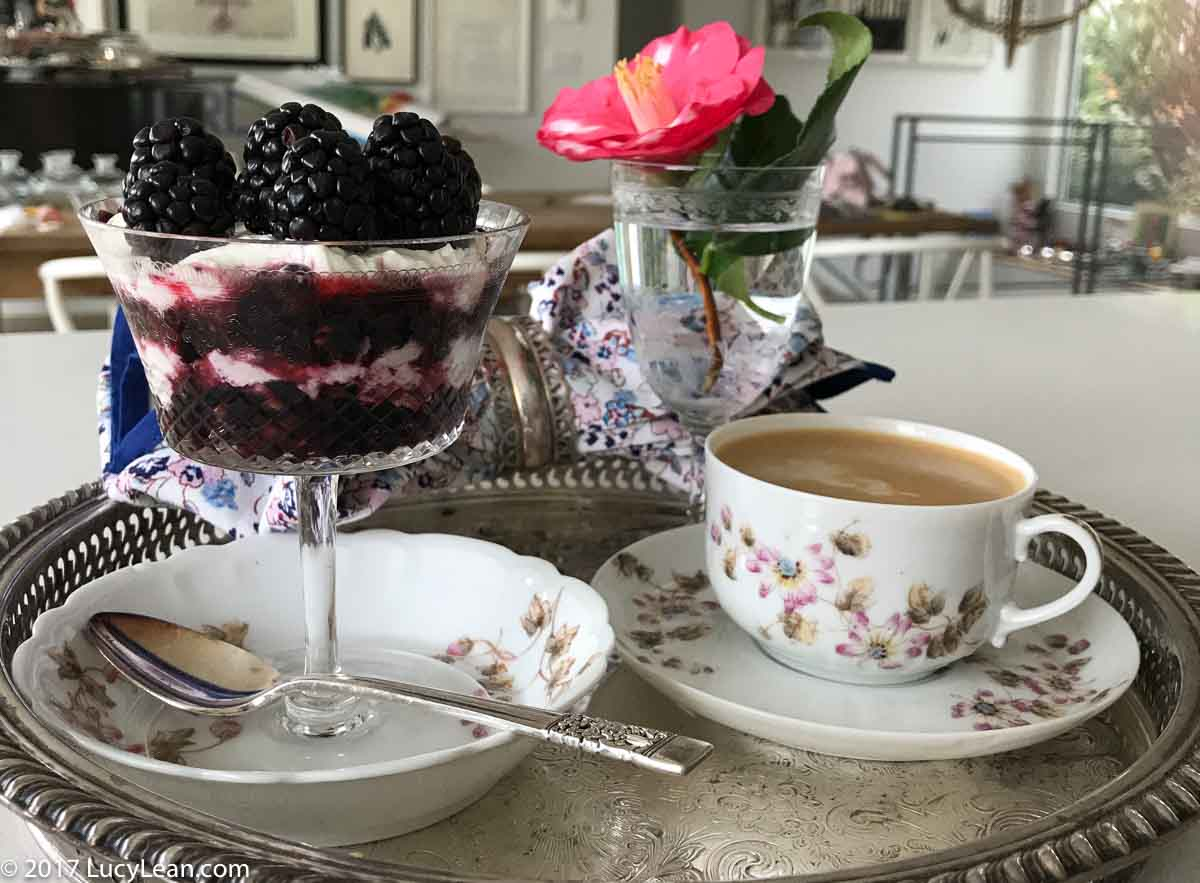 Breakfast Tray Lean Luxury Blackberry Parfait Berries